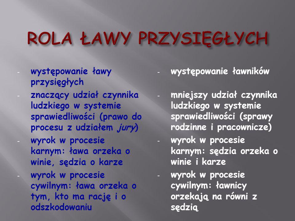 - występowanie ławy przysięgłych - znaczący udział czynnika ludzkiego w systemie sprawiedliwości (prawo do procesu z udziałem jury) - wyrok w procesie