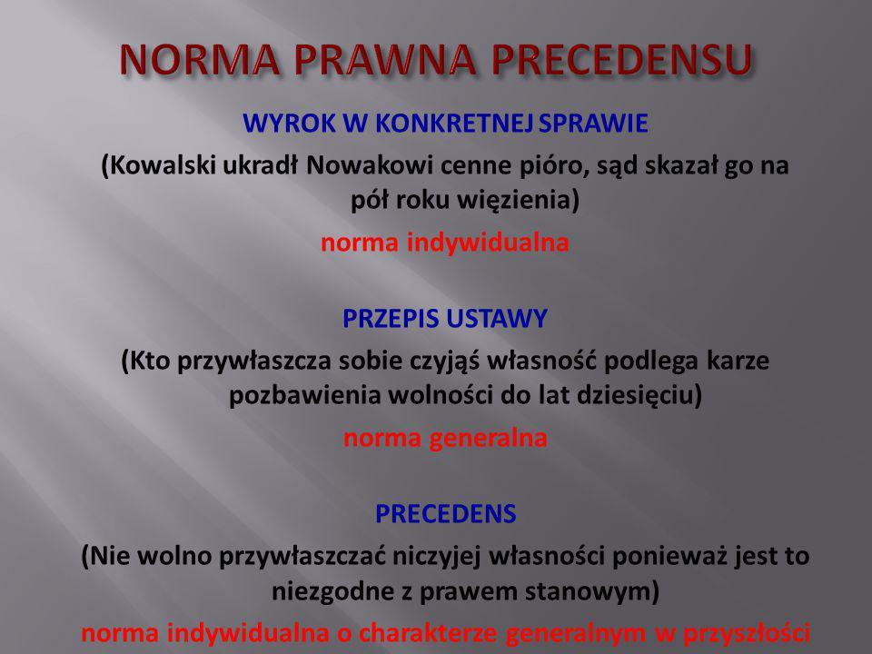 WYROK W KONKRETNEJ SPRAWIE (Kowalski ukradł Nowakowi cenne pióro, sąd skazał go na pół roku więzienia) norma indywidualna PRZEPIS USTAWY (Kto przywłas