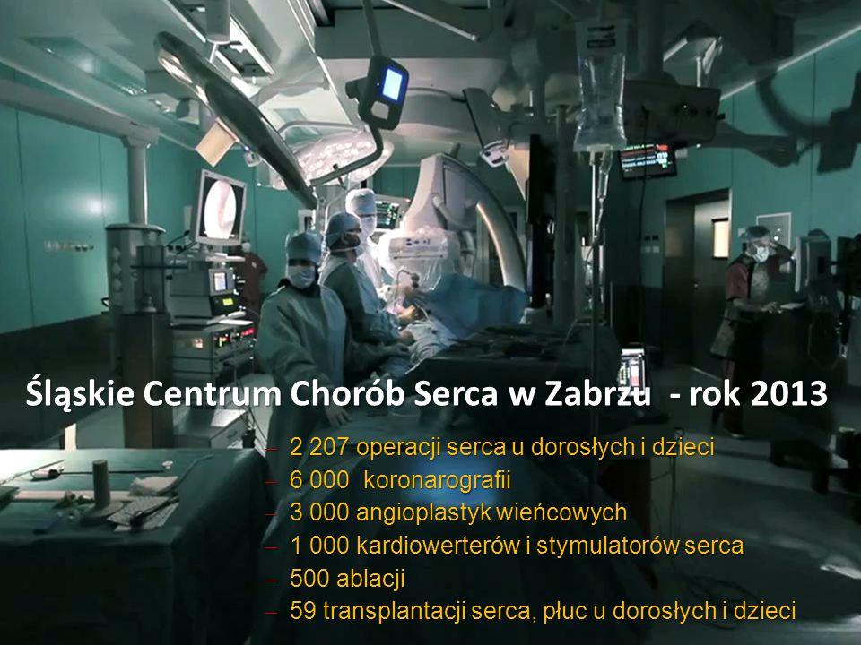 Śląskie Centrum Chorób Serca w Zabrzu - rok 2013  2 207 operacji serca u dorosłych i dzieci  6 000 koronarografii  3 000 angioplastyk wieńcowych 