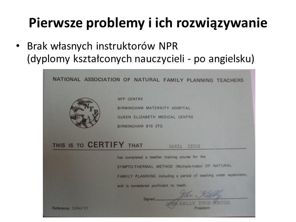 Brak własnych instruktorów NPR (dyplomy kształconych nauczycieli - po angielsku) Pierwsze problemy i ich rozwiązywanie