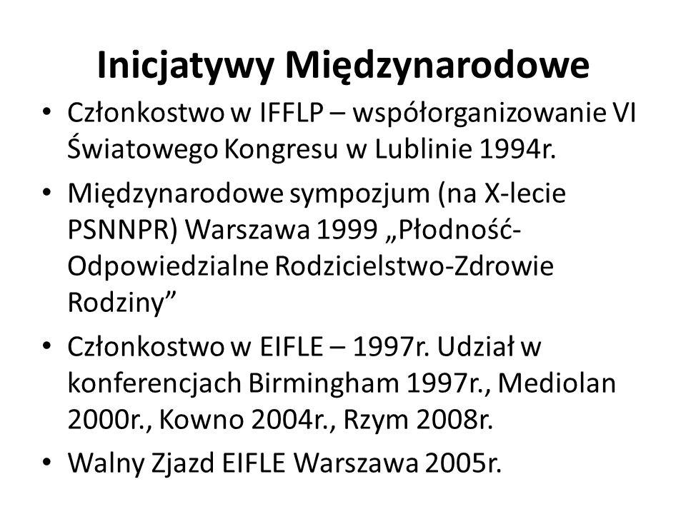 Inicjatywy Międzynarodowe Członkostwo w IFFLP – współorganizowanie VI Światowego Kongresu w Lublinie 1994r.