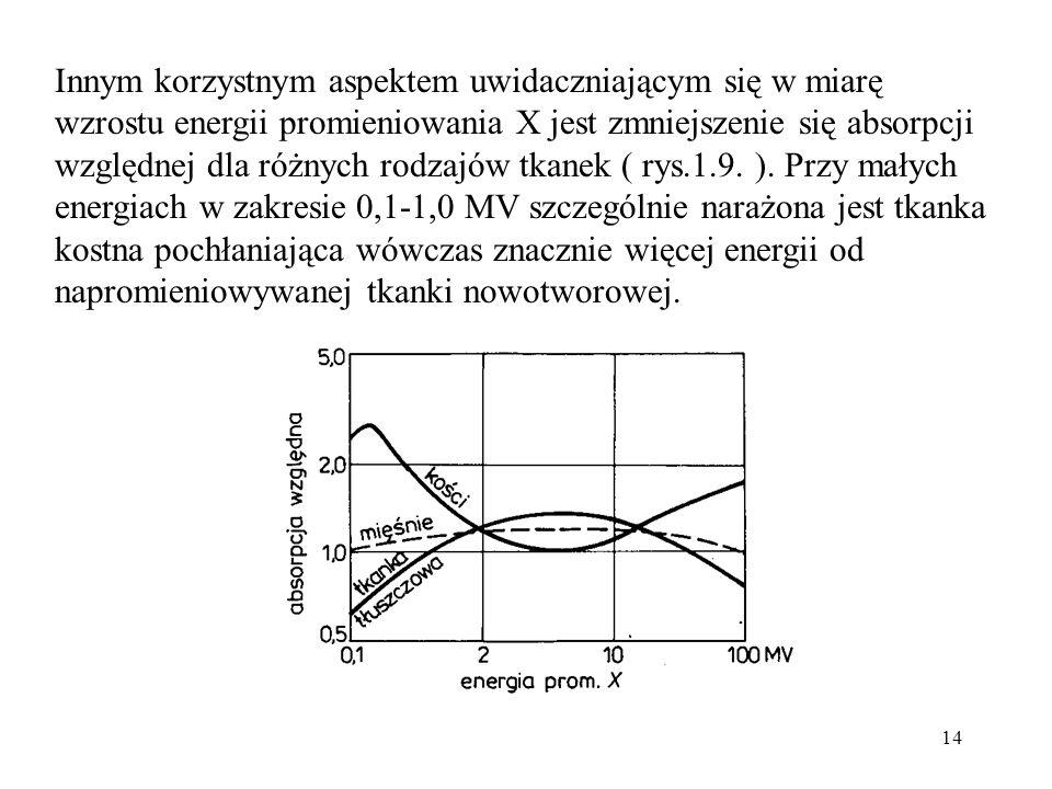 14 Innym korzystnym aspektem uwidaczniającym się w miarę wzrostu energii promieniowania X jest zmniejszenie się absorpcji względnej dla różnych rodzajów tkanek ( rys.1.9.