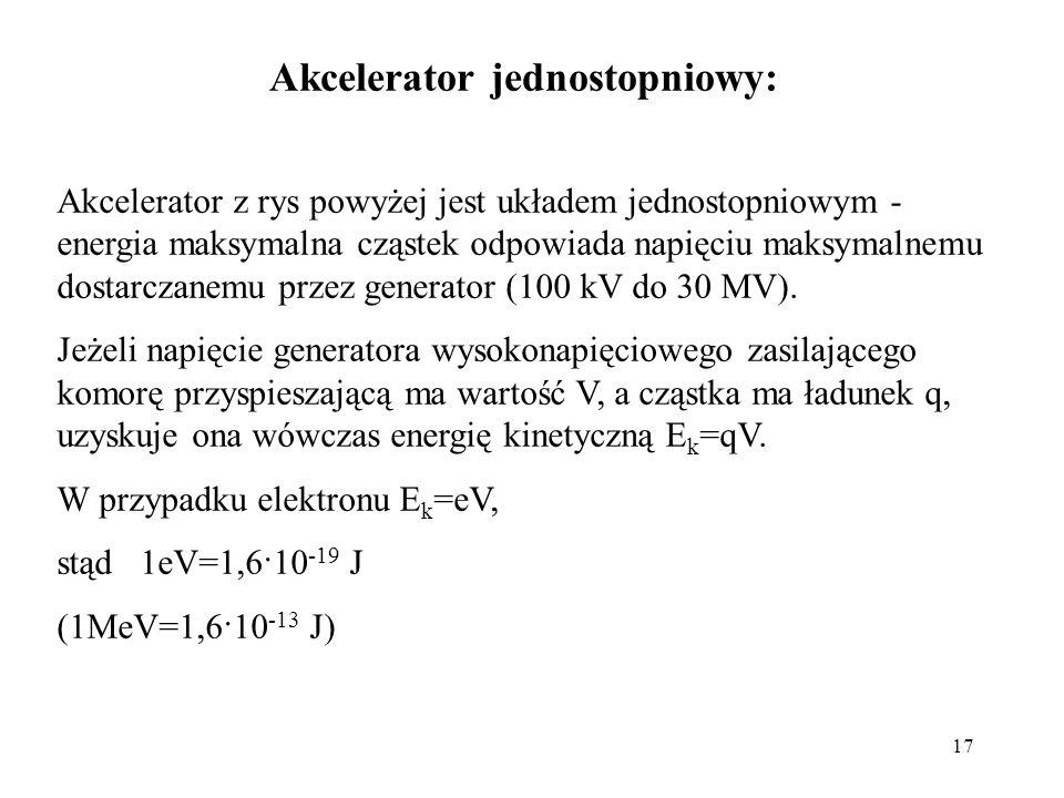 17 Akcelerator jednostopniowy: Akcelerator z rys powyżej jest układem jednostopniowym - energia maksymalna cząstek odpowiada napięciu maksymalnemu dos