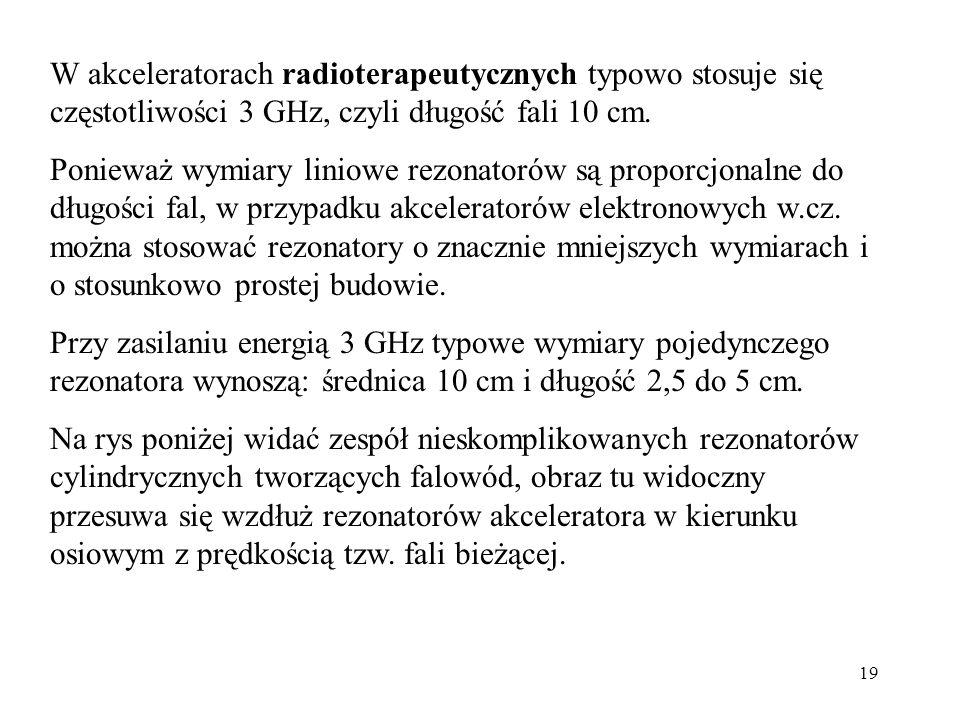 19 W akceleratorach radioterapeutycznych typowo stosuje się częstotliwości 3 GHz, czyli długość fali 10 cm.
