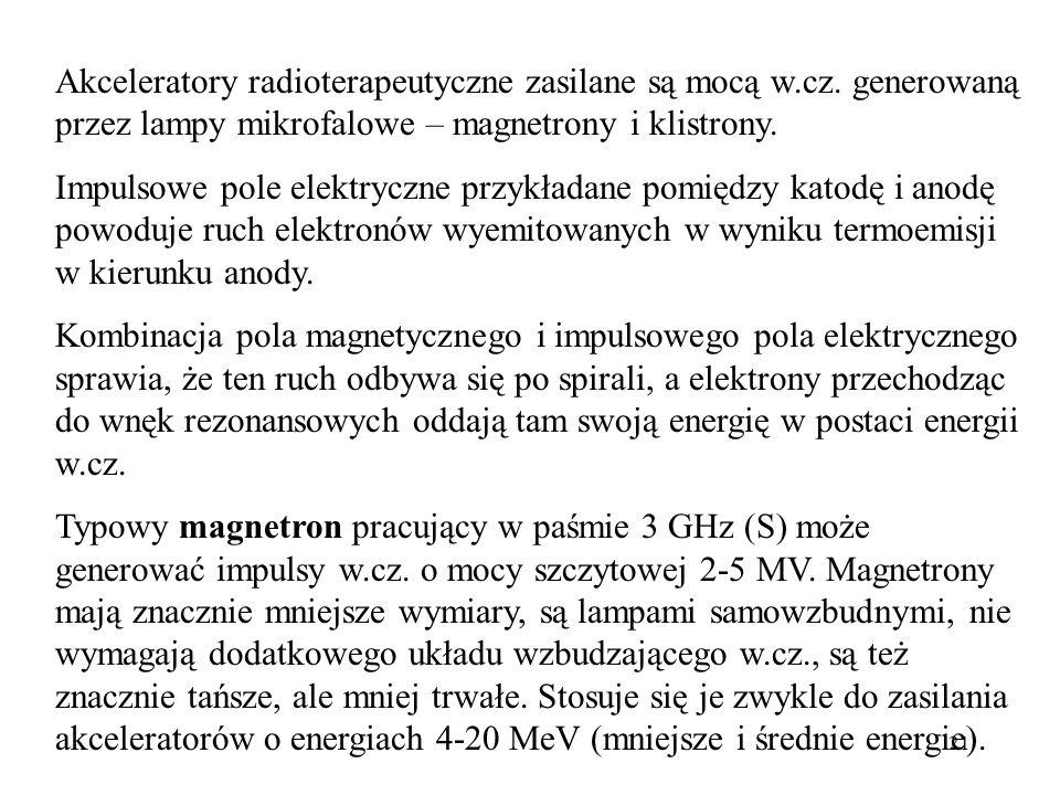21 Akceleratory radioterapeutyczne zasilane są mocą w.cz.