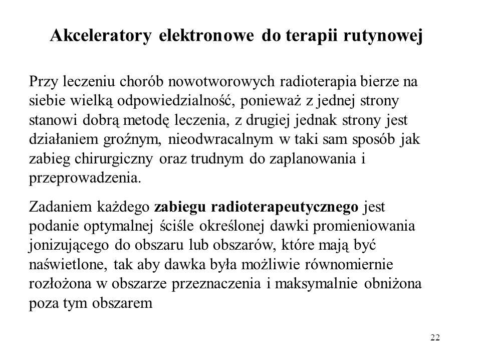 22 Akceleratory elektronowe do terapii rutynowej Przy leczeniu chorób nowotworowych radioterapia bierze na siebie wielką odpowiedzialność, ponieważ z jednej strony stanowi dobrą metodę leczenia, z drugiej jednak strony jest działaniem groźnym, nieodwracalnym w taki sam sposób jak zabieg chirurgiczny oraz trudnym do zaplanowania i przeprowadzenia.