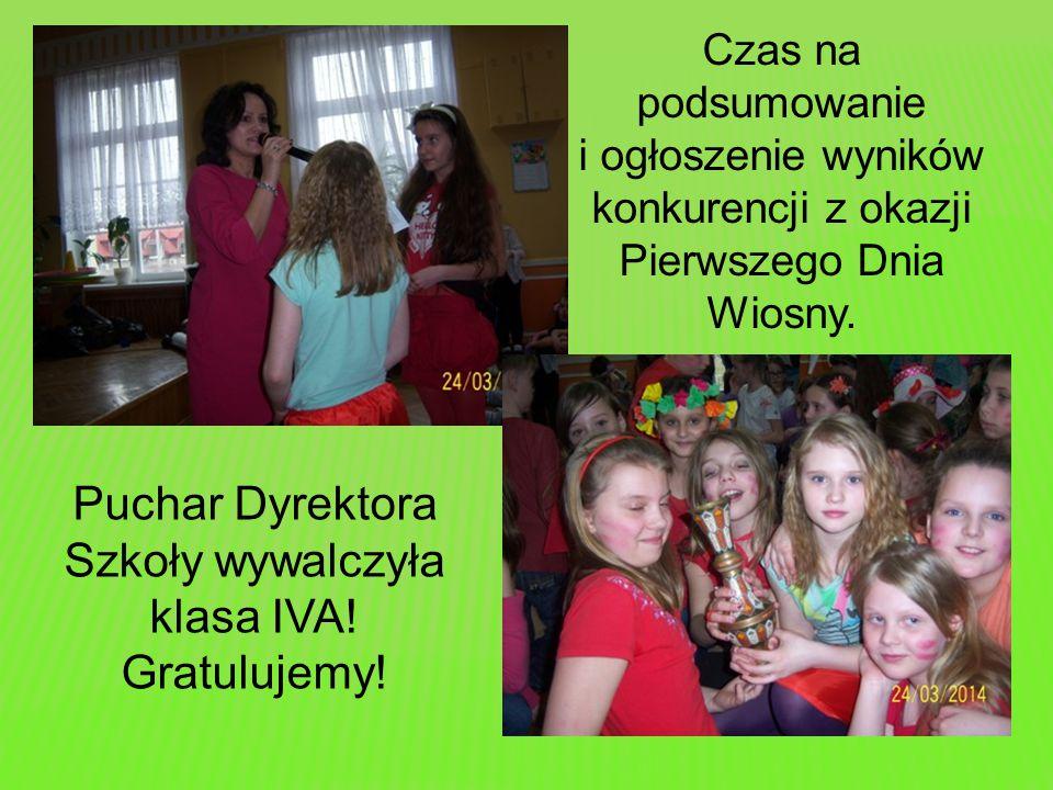 Czas na podsumowanie i ogłoszenie wyników konkurencji z okazji Pierwszego Dnia Wiosny. Puchar Dyrektora Szkoły wywalczyła klasa IVA! Gratulujemy!