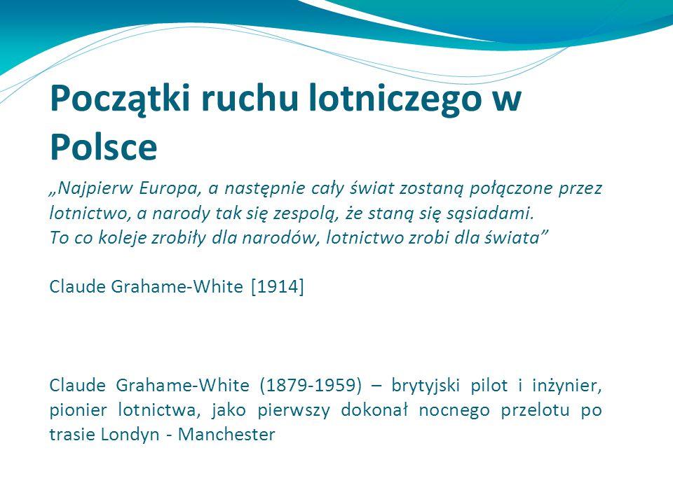 """Początki ruchu lotniczego w Polsce """"Najpierw Europa, a następnie cały świat zostaną połączone przez lotnictwo, a narody tak się zespolą, że staną się"""