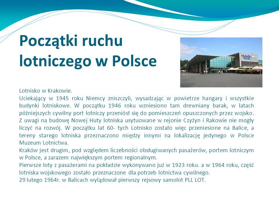 Początki ruchu lotniczego w Polsce Lotnisko w Krakowie. Uciekający w 1945 roku Niemcy zniszczyli, wysadzając w powietrze hangary i wszystkie budynki l
