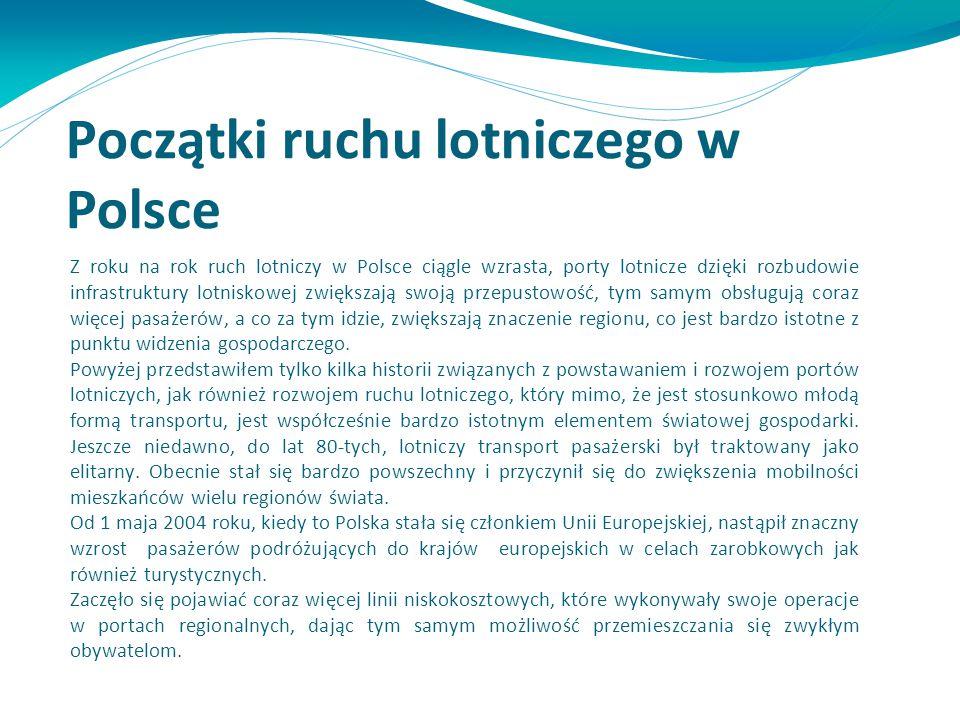 Z roku na rok ruch lotniczy w Polsce ciągle wzrasta, porty lotnicze dzięki rozbudowie infrastruktury lotniskowej zwiększają swoją przepustowość, tym s