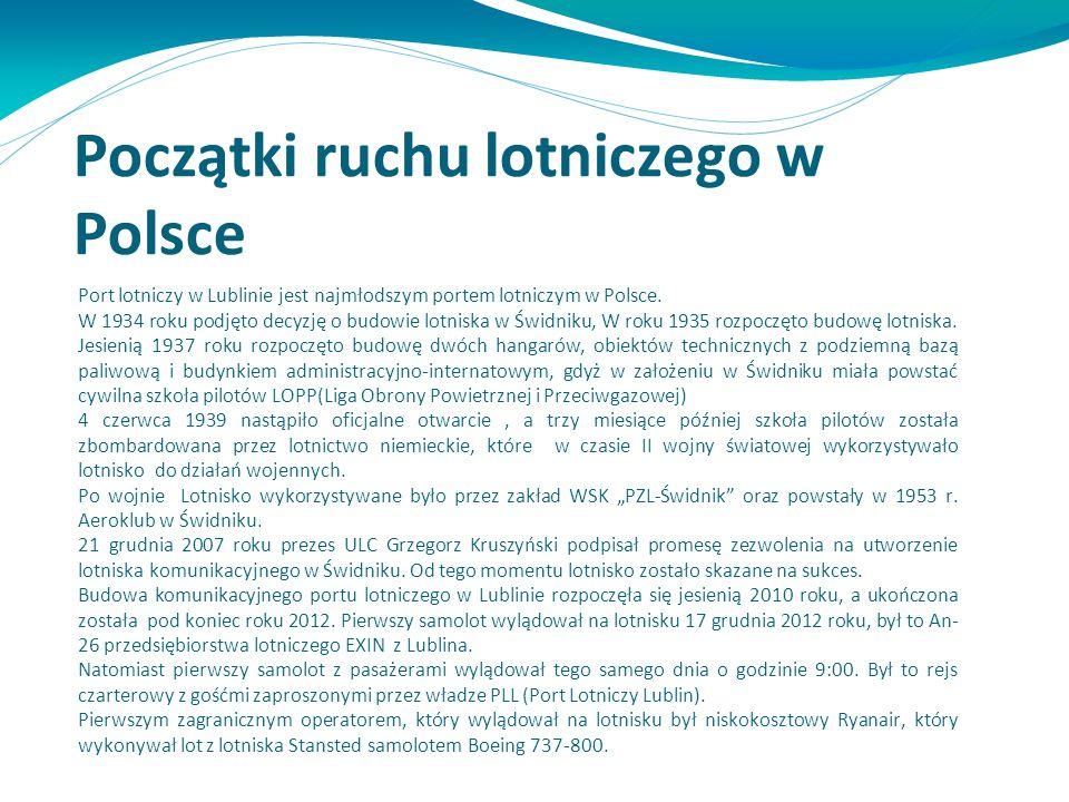 Początki ruchu lotniczego w Polsce Port lotniczy w Lublinie jest najmłodszym portem lotniczym w Polsce. W 1934 roku podjęto decyzję o budowie lotniska