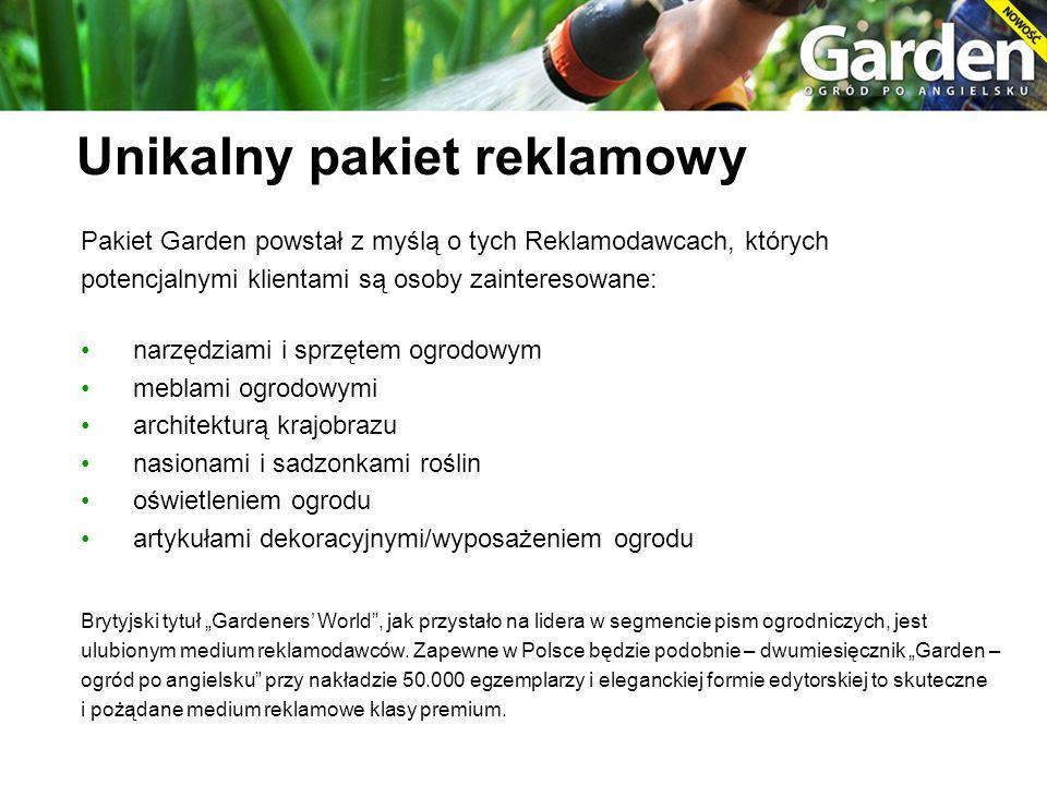 Pakiet Garden powstał z myślą o tych Reklamodawcach, których potencjalnymi klientami są osoby zainteresowane: narzędziami i sprzętem ogrodowym meblami