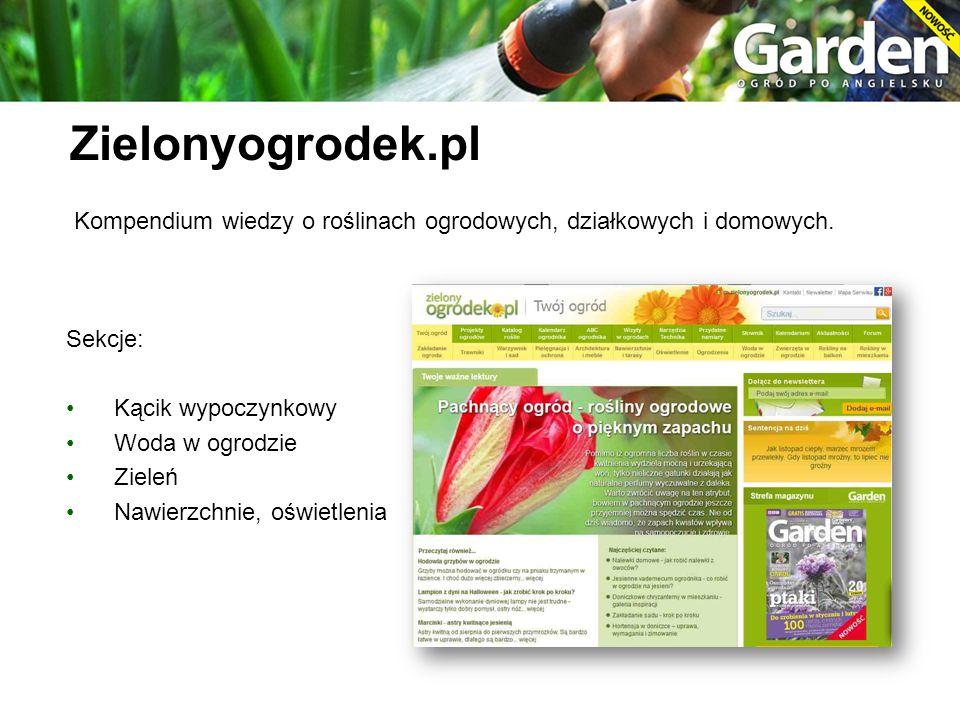 Kompendium wiedzy o roślinach ogrodowych, działkowych i domowych. Sekcje: Kącik wypoczynkowy Woda w ogrodzie Zieleń Nawierzchnie, oświetlenia Zielonyo