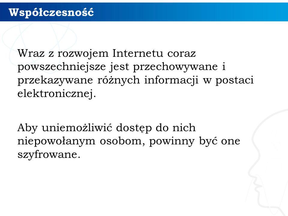 Szyfr Cezara (monoalfabetyczny) 6 Jednym z najstarszych przykładów szyfrów jest szyfr Cezara, pochodzący z I w.