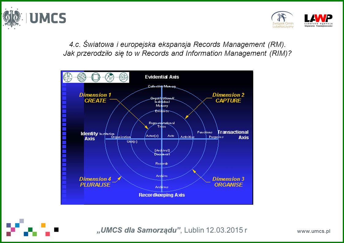 4.c. Światowa i europejska ekspansja Records Management (RM). Jak przerodziło się to w Records and Information Management (RIM)? www.umcs.pl