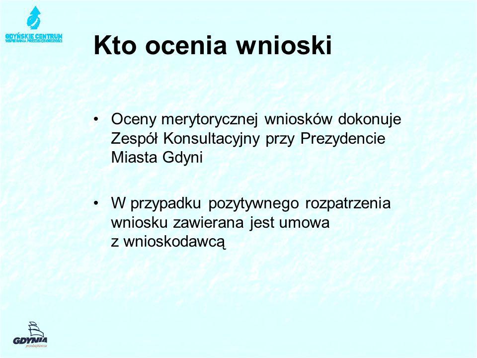 Kto ocenia wnioski Oceny merytorycznej wniosków dokonuje Zespół Konsultacyjny przy Prezydencie Miasta Gdyni W przypadku pozytywnego rozpatrzenia wniosku zawierana jest umowa z wnioskodawcą