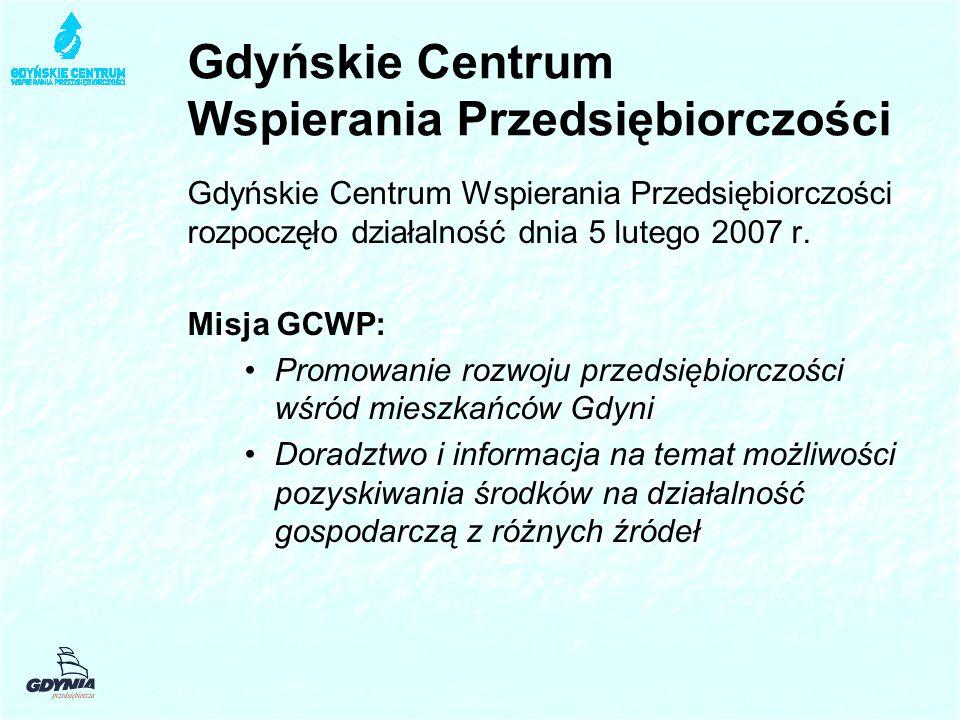 Gdyńskie Centrum Wspierania Przedsiębiorczości Gdyńskie Centrum Wspierania Przedsiębiorczości rozpoczęło działalność dnia 5 lutego 2007 r. Misja GCWP: