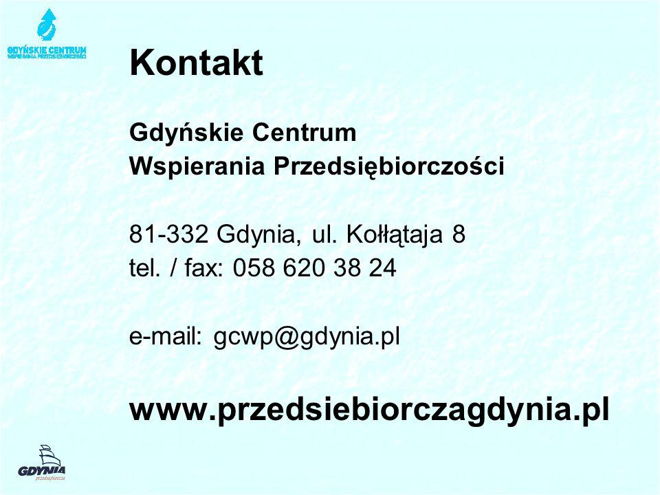 Kontakt Gdyńskie Centrum Wspierania Przedsiębiorczości 81-332 Gdynia, ul. Kołłątaja 8 tel. / fax: 058 620 38 24 e-mail: gcwp@gdynia.pl www.przedsiebio
