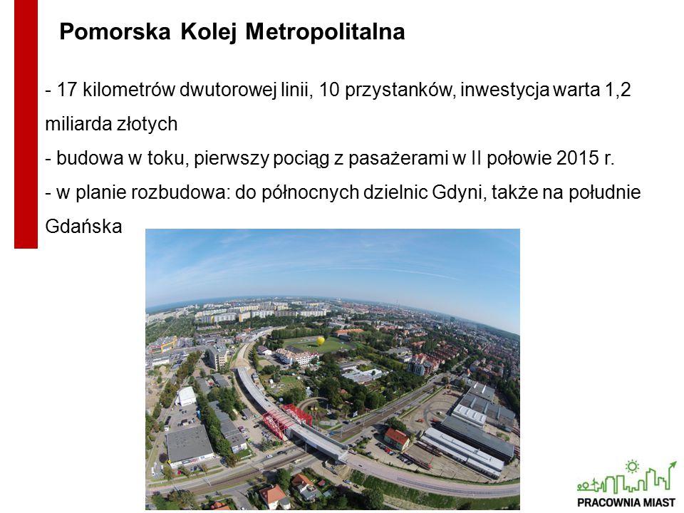 - 17 kilometrów dwutorowej linii, 10 przystanków, inwestycja warta 1,2 miliarda złotych - budowa w toku, pierwszy pociąg z pasażerami w II połowie 2015 r.