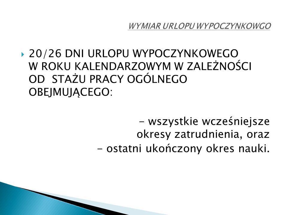  20/26 DNI URLOPU WYPOCZYNKOWEGO W ROKU KALENDARZOWYM W ZALEŻNOŚCI OD STAŻU PRACY OGÓLNEGO OBEJMUJĄCEGO: - wszystkie wcześniejsze okresy zatrudnienia