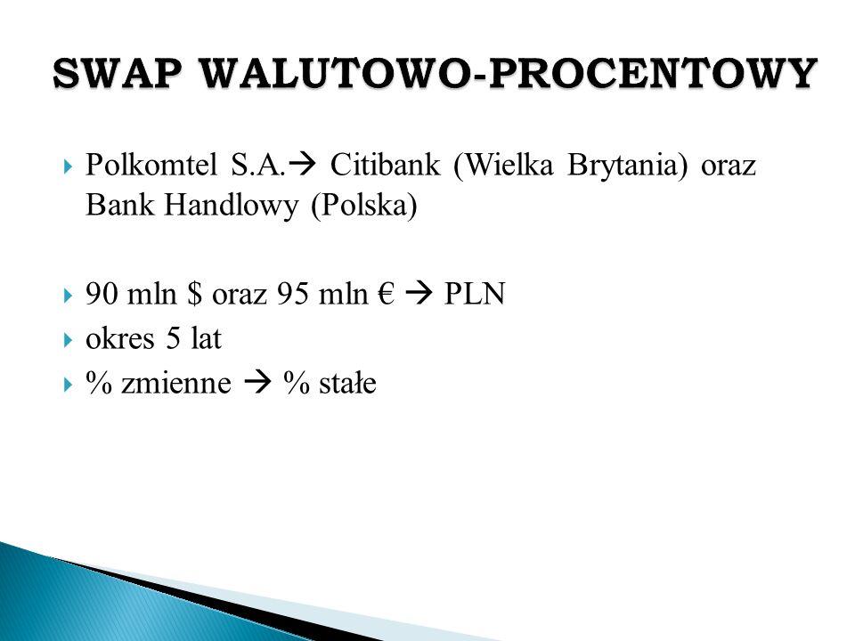  Polkomtel S.A.  Citibank (Wielka Brytania) oraz Bank Handlowy (Polska)  90 mln $ oraz 95 mln €  PLN  okres 5 lat  % zmienne  % stałe