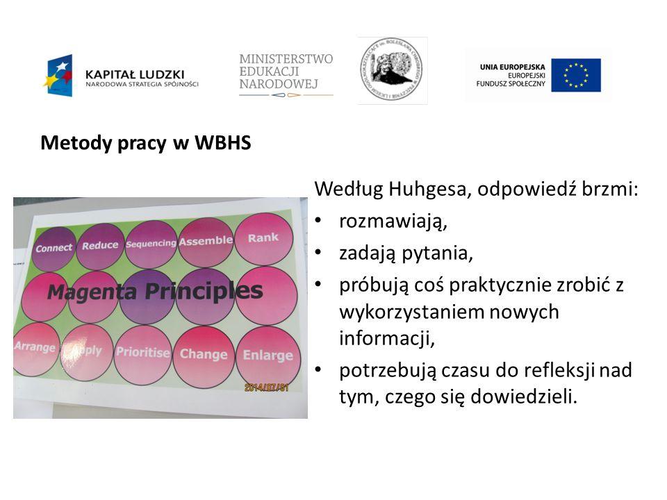 Metody pracy w WBHS Według Huhgesa, odpowiedź brzmi: rozmawiają, zadają pytania, próbują coś praktycznie zrobić z wykorzystaniem nowych informacji, potrzebują czasu do refleksji nad tym, czego się dowiedzieli.