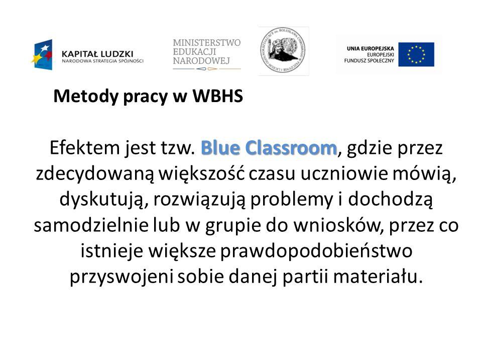 Metody pracy w WBHS Blue Classroom Efektem jest tzw.