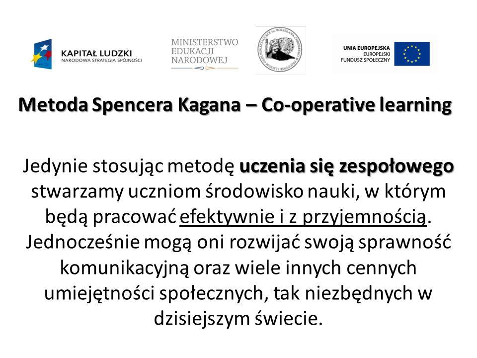 Metoda Spencera Kagana – Co-operative learning uczenia się zespołowego Jedynie stosując metodę uczenia się zespołowego stwarzamy uczniom środowisko nauki, w którym będą pracować efektywnie i z przyjemnością.