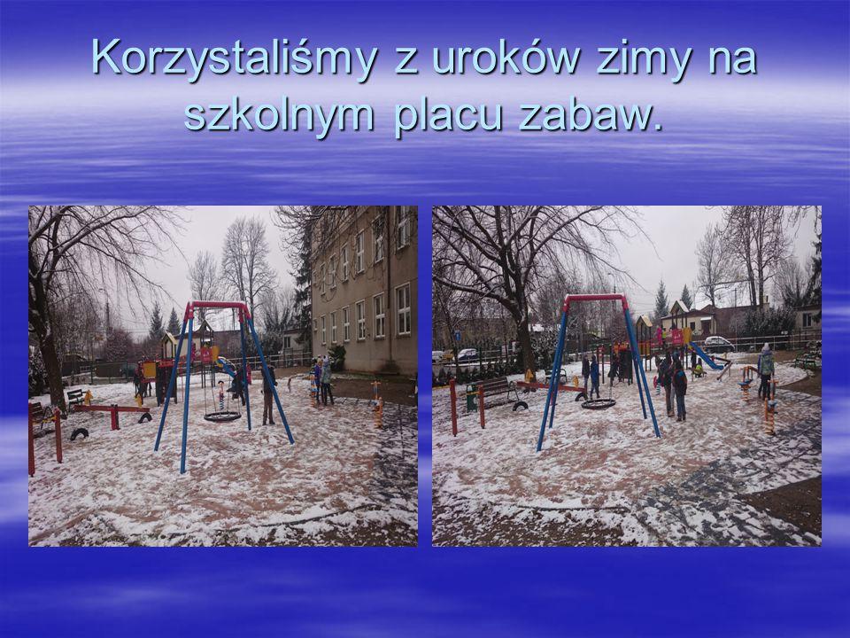 Korzystaliśmy z uroków zimy na szkolnym placu zabaw.