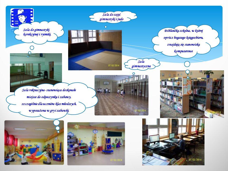 Sala do zajęć gimnastyki i judo Sala gimnastyczna Sala rekreacyjna- stanowiąca doskonałe miejsce do odpoczynku i zabawy, szczególnie dla uczniów klas młodszych, wyposażona w gry i zabawki.