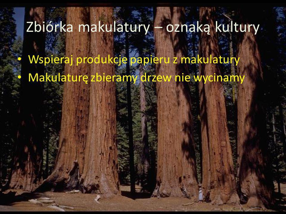 Zbiórka makulatury – oznaką kultury Wspieraj produkcje papieru z makulatury Makulaturę zbieramy drzew nie wycinamy