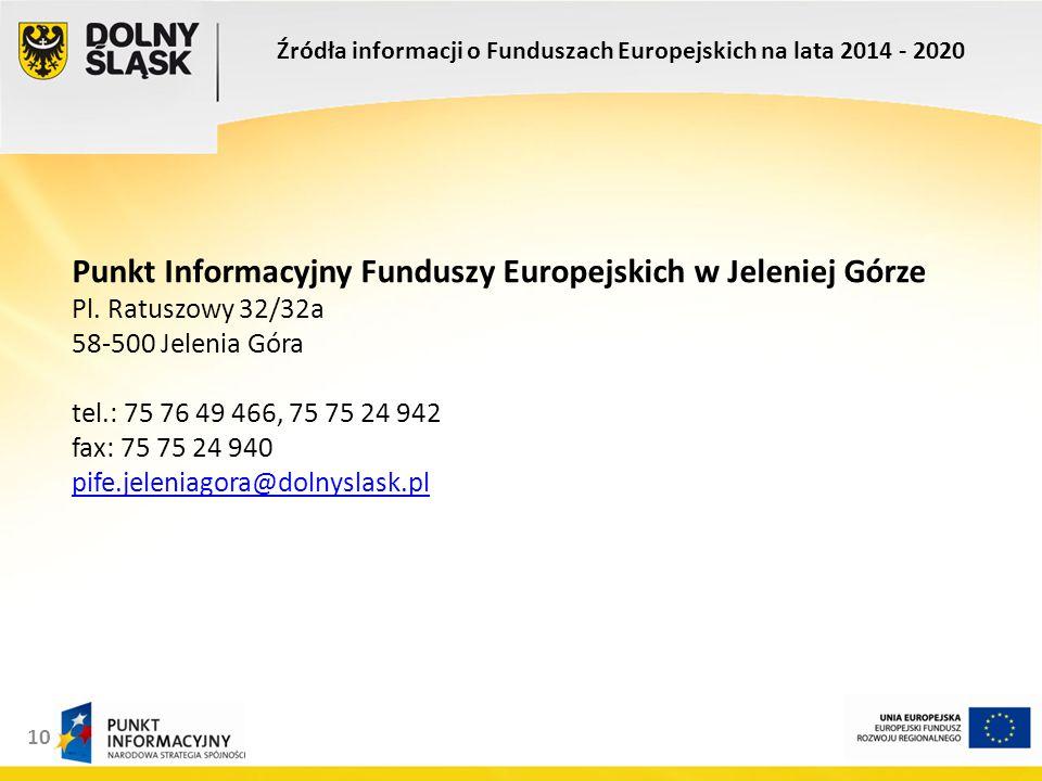 10 Punkt Informacyjny Funduszy Europejskich w Jeleniej Górze Pl.