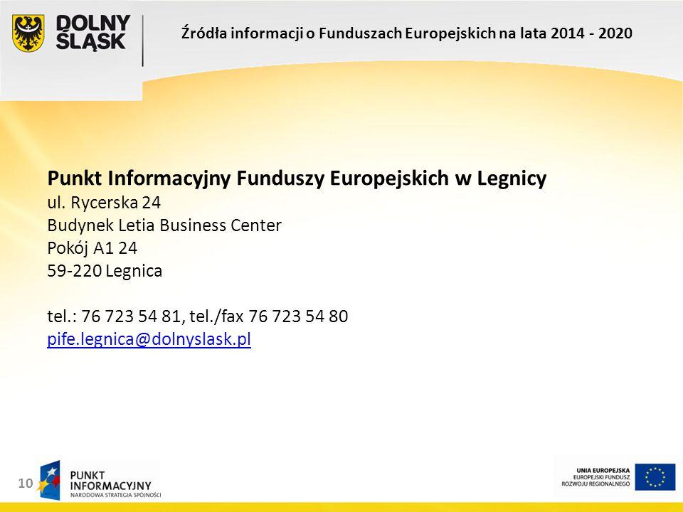 10 Punkt Informacyjny Funduszy Europejskich w Legnicy ul.