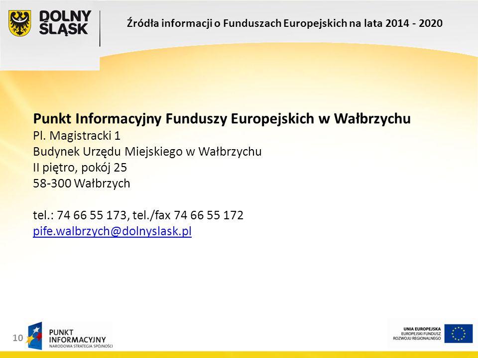 10 Punkt Informacyjny Funduszy Europejskich w Wałbrzychu Pl.