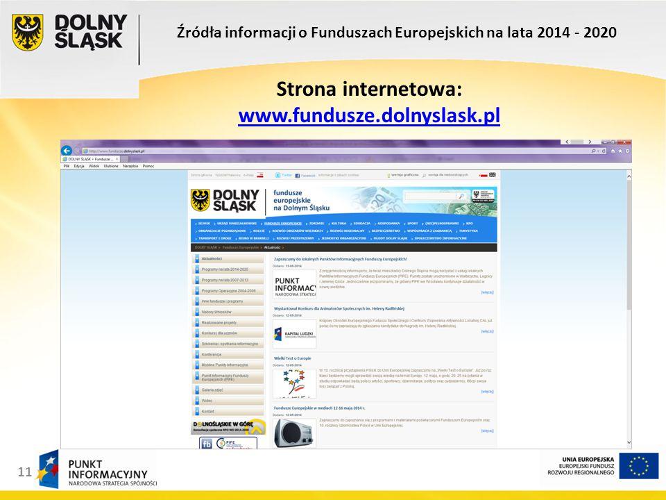 11 Źródła informacji o Funduszach Europejskich na lata 2014 - 2020 Strona internetowa: www.fundusze.dolnyslask.pl