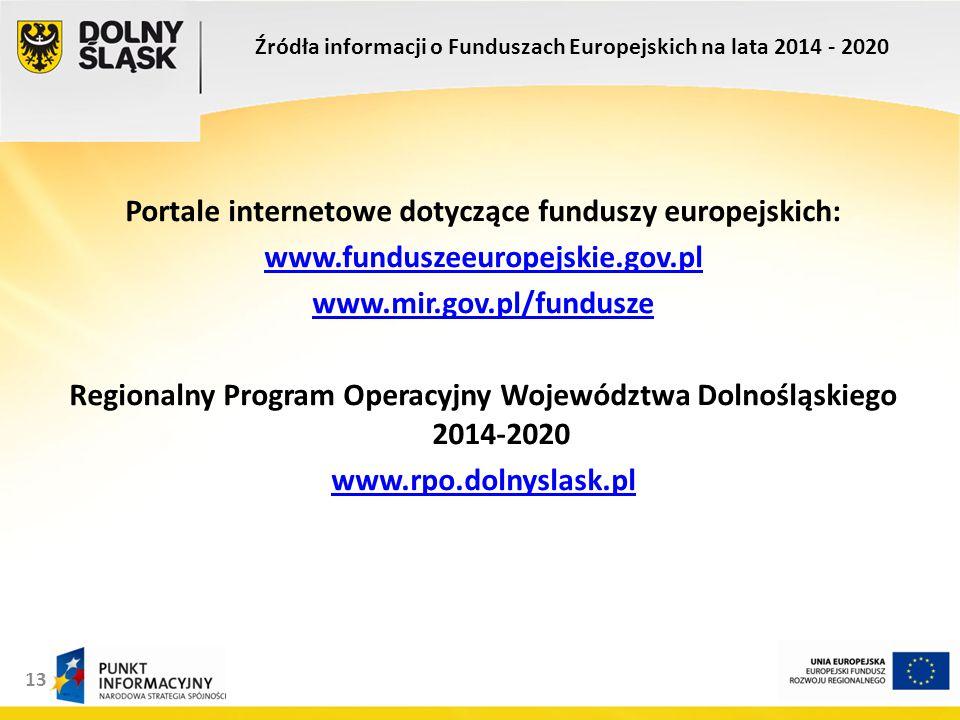 13 Portale internetowe dotyczące funduszy europejskich: www.funduszeeuropejskie.gov.pl www.mir.gov.pl/fundusze Regionalny Program Operacyjny Województwa Dolnośląskiego 2014-2020 www.rpo.dolnyslask.pl Źródła informacji o Funduszach Europejskich na lata 2014 - 2020