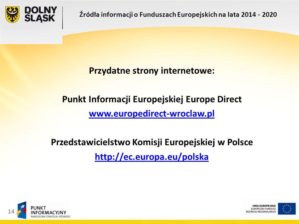 14 Przydatne strony internetowe: Punkt Informacji Europejskiej Europe Direct www.europedirect-wroclaw.pl Przedstawicielstwo Komisji Europejskiej w Polsce http://ec.europa.eu/polska Źródła informacji o Funduszach Europejskich na lata 2014 - 2020