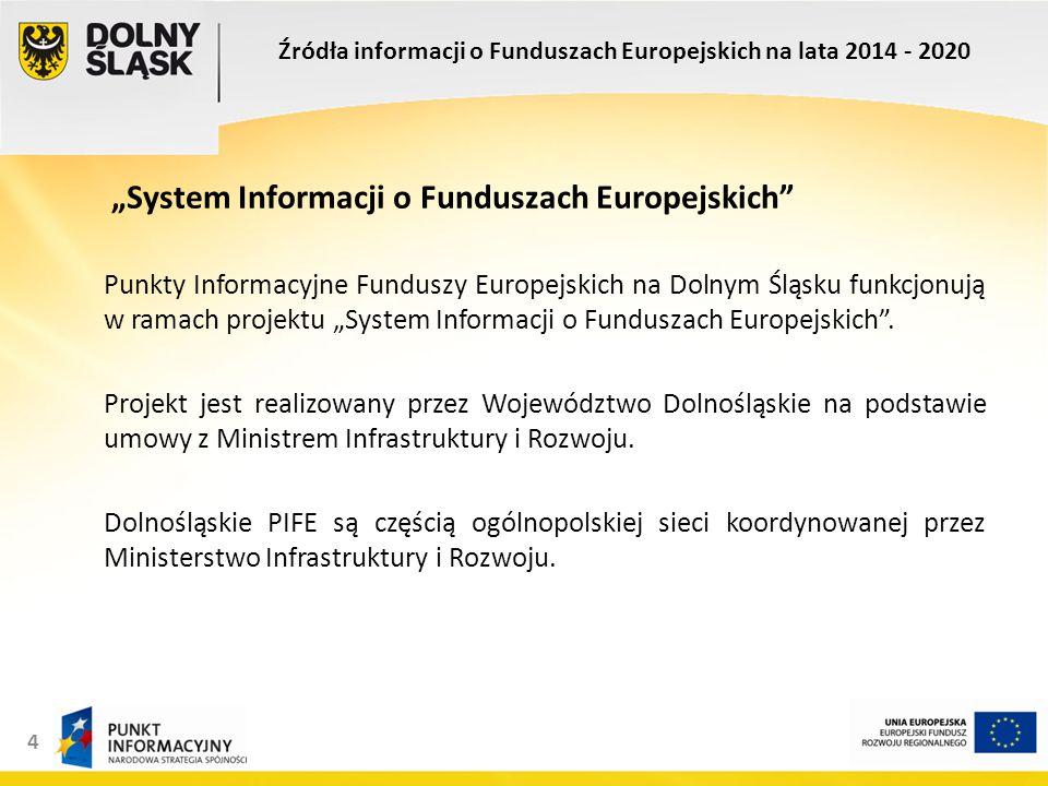 """4 """"System Informacji o Funduszach Europejskich Punkty Informacyjne Funduszy Europejskich na Dolnym Śląsku funkcjonują w ramach projektu """"System Informacji o Funduszach Europejskich ."""
