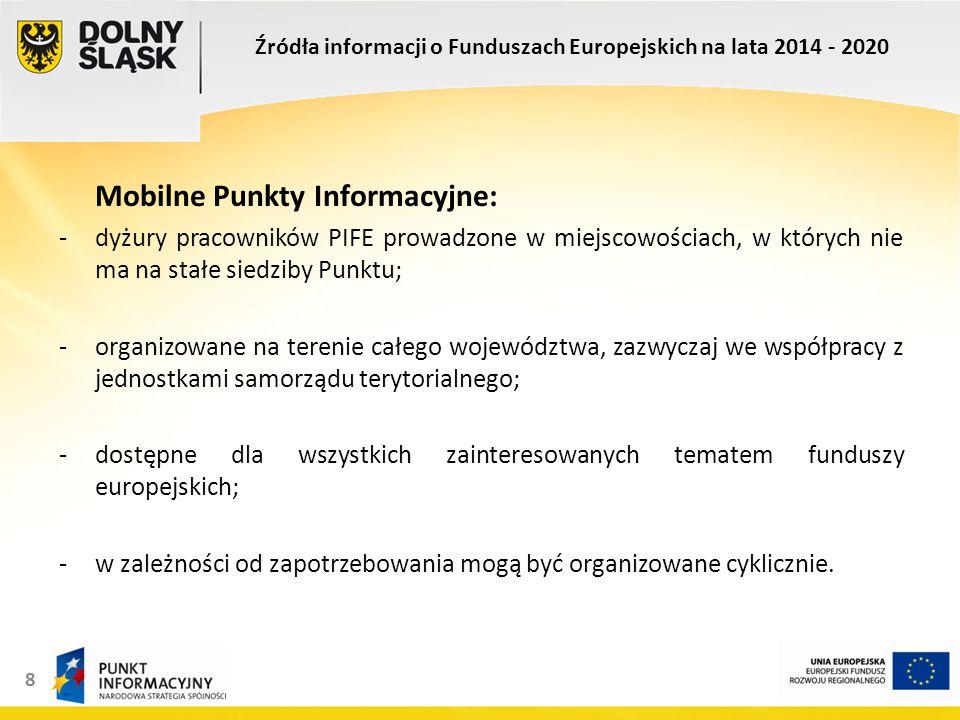 8 Mobilne Punkty Informacyjne: -dyżury pracowników PIFE prowadzone w miejscowościach, w których nie ma na stałe siedziby Punktu; -organizowane na terenie całego województwa, zazwyczaj we współpracy z jednostkami samorządu terytorialnego; -dostępne dla wszystkich zainteresowanych tematem funduszy europejskich; -w zależności od zapotrzebowania mogą być organizowane cyklicznie.