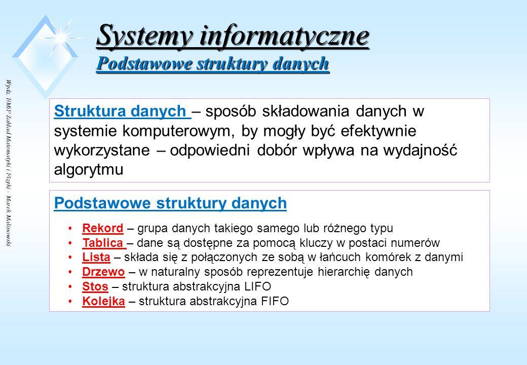 Wydz. BMiP Zakład Matematyki i Fizyki - Marek Malinowski Systemy informatyczne System informatyczny - elementy Zasoby osobowe Elementy organizacyjneEl