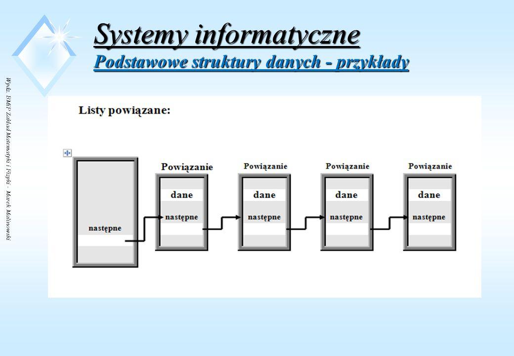 Wydz. BMiP Zakład Matematyki i Fizyki - Marek Malinowski Systemy informatyczne Podstawowe struktury danych - przykłady