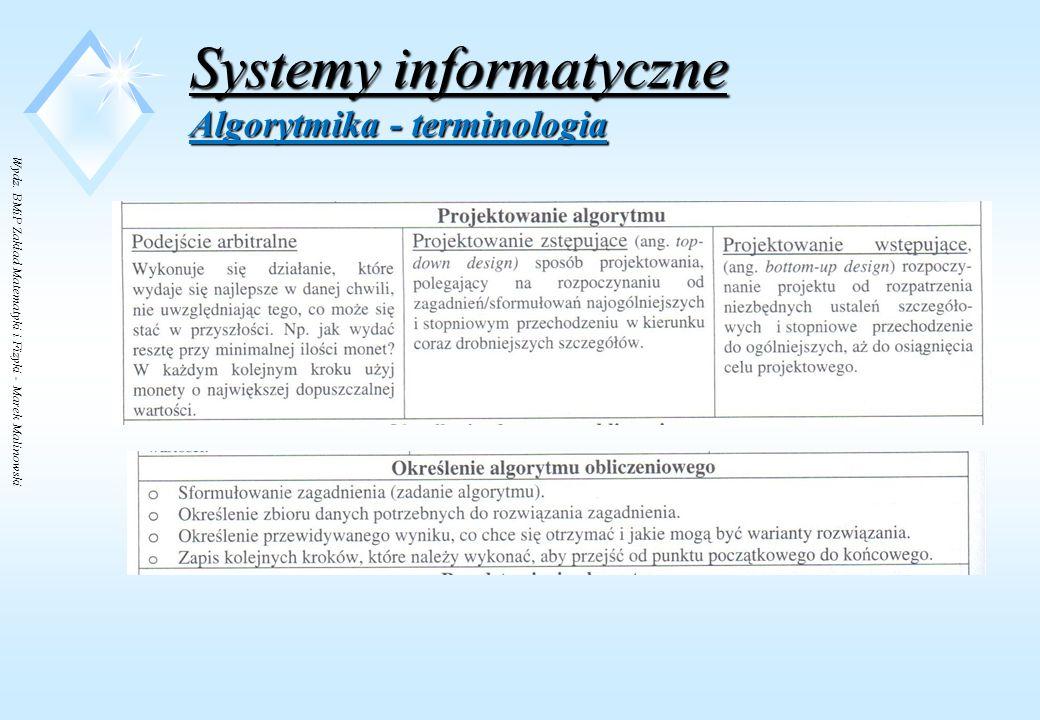 Wydz. BMiP Zakład Matematyki i Fizyki - Marek Malinowski Systemy informatyczne Algorytmika - terminologia