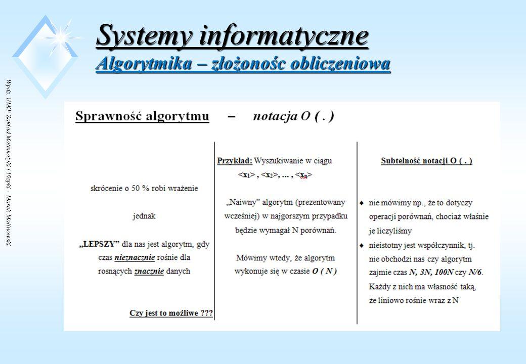 Wydz. BMiP Zakład Matematyki i Fizyki - Marek Malinowski Systemy informatyczne Algorytmika – złożonośc obliczeniowa