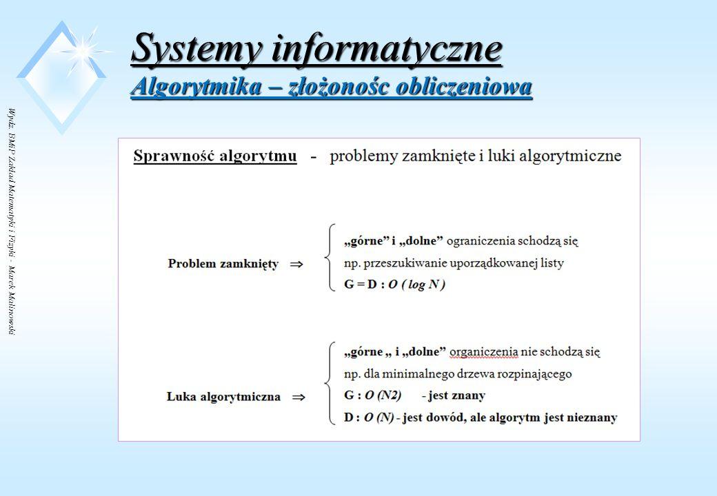 Wydz. BMiP Zakład Matematyki i Fizyki - Marek Malinowski Systemy informatyczne Algorytmika – złożonośc obliczeniowa Pytanie ??? Jak dowieść czegoś o w
