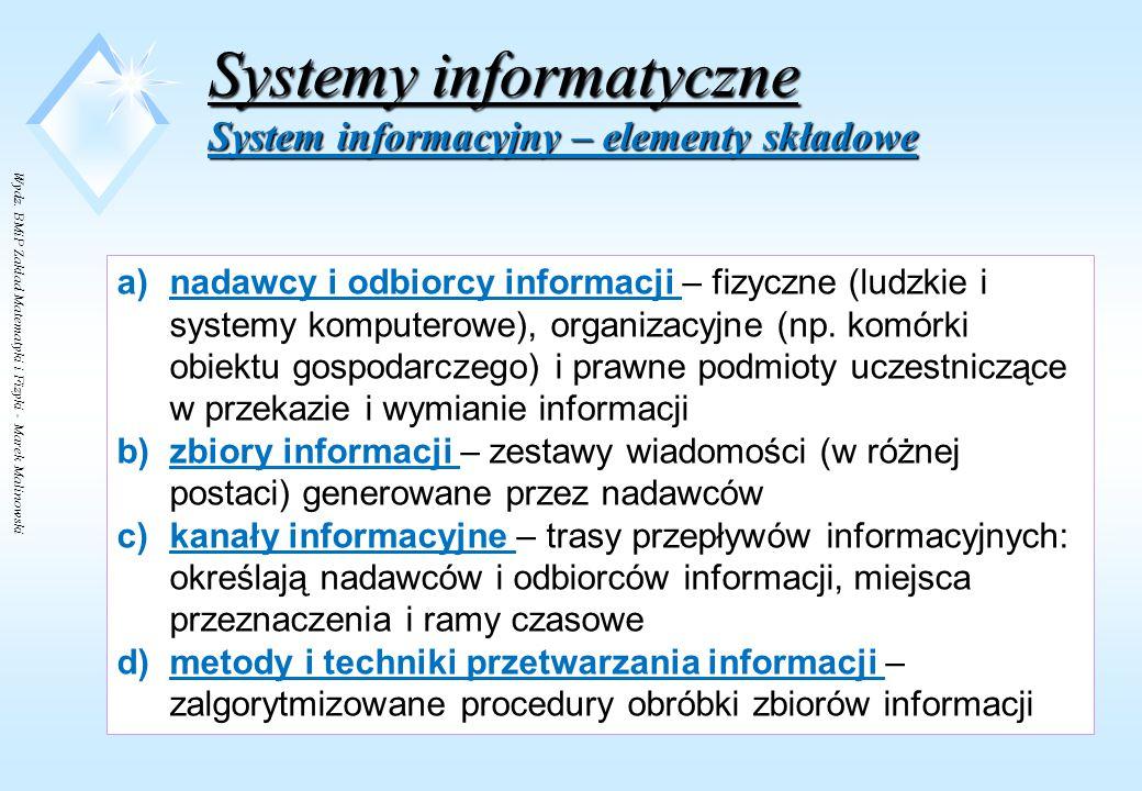 Wydz. BMiP Zakład Matematyki i Fizyki - Marek Malinowski Systemy informatyczne System informacyjny - charakterystyka ELEMENTY SKŁADOWESTRUKTURAZASOBY