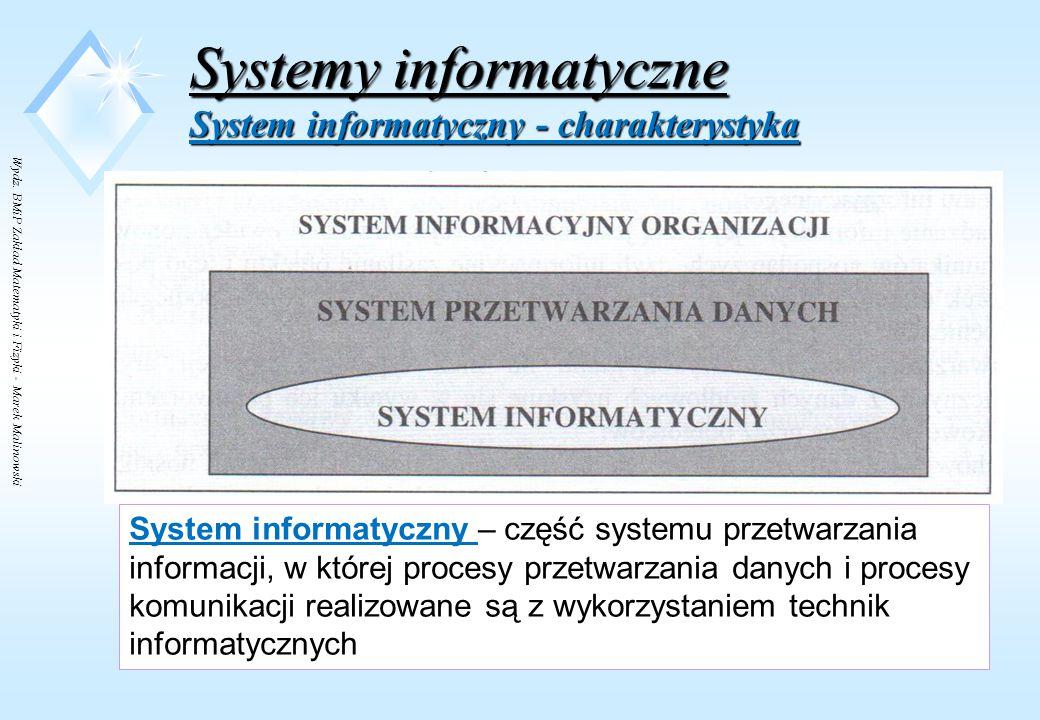 Wydz. BMiP Zakład Matematyki i Fizyki - Marek Malinowski Systemy informatyczne System informacyjny – zasoby a)ludzkie - użytkownicy pełniący role nada