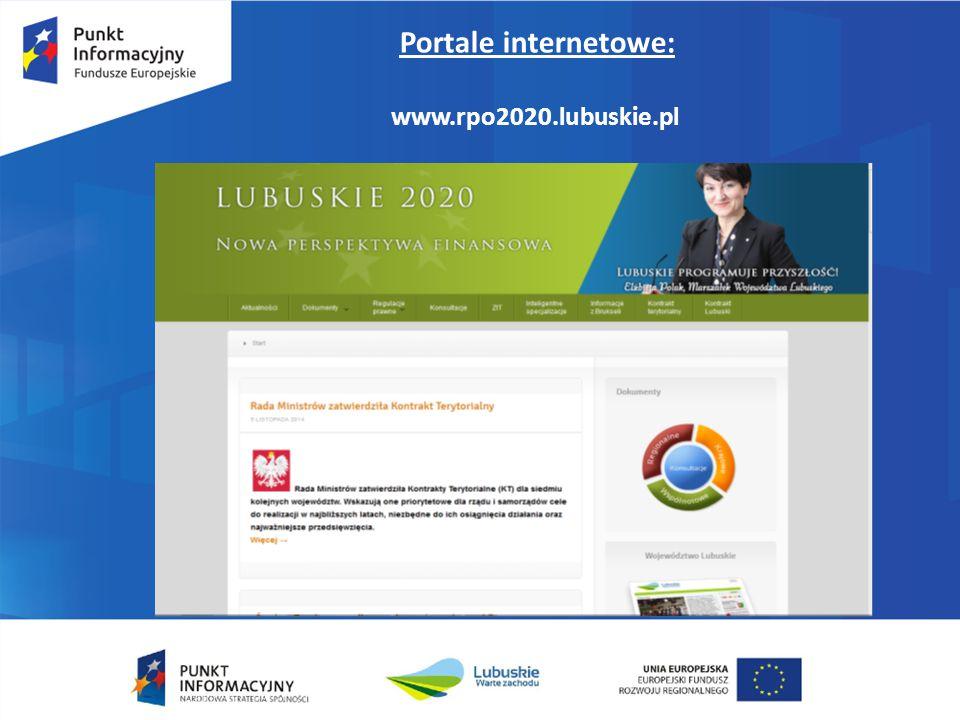 Portale internetowe: www.rpo2020.lubuskie.pl