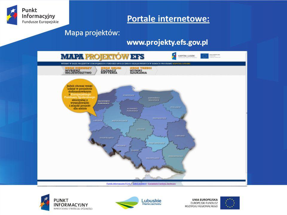 Portale internetowe: Mapa projektów: www.projekty.efs.gov.pl