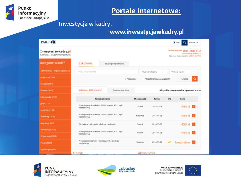 Portale internetowe: Inwestycja w kadry: www.inwestycjawkadry.pl