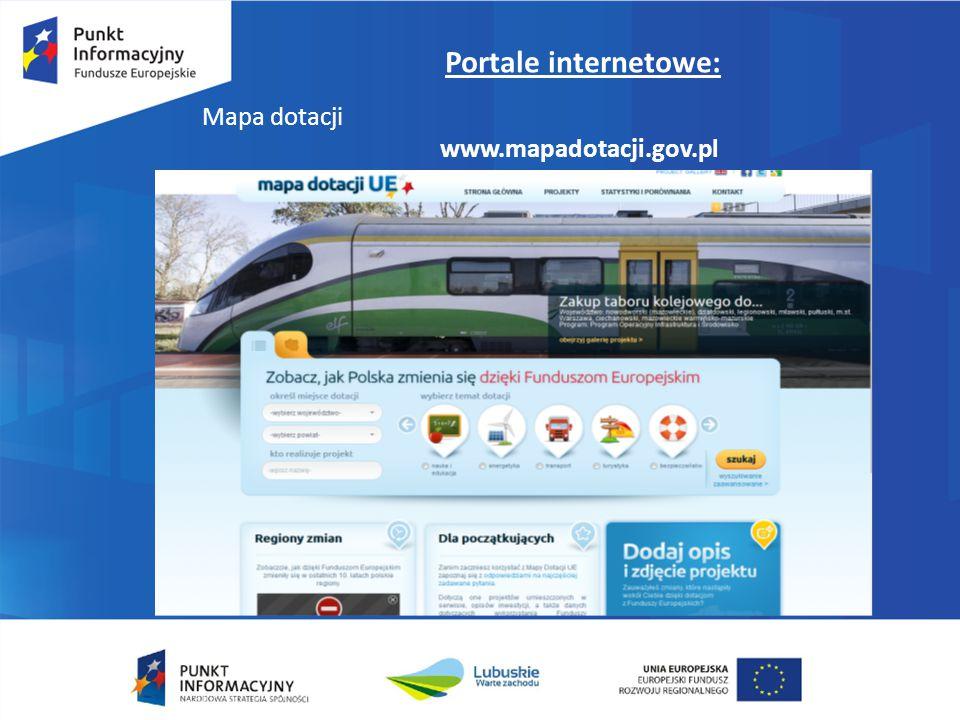 Portale internetowe: Mapa dotacji www.mapadotacji.gov.pl